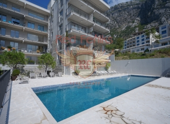The new two-bedroom apartment for sale with a total area of 90 sq m ( 64 sq m plus a terrace of 26 sq m) is located on the high ground floor in the new residential complex, in Dobrota, 3 km from the Old town of Kotor, the complex is built of high quality expensive materials, modern ventilation equipment, electronic keys, swimming pool, sauna, fitness, Parking.