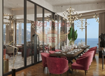 A panoramic restaurant for sale of 300m2 is located in a residential complex in Becici.