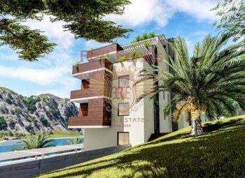 Apartments for sale in a new complex on the beach in the city of Kotor.