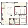 Kotor'da iki odalı bir daire, Karadağ'da garantili kira geliri olan yatırım, Dobrota da Satılık Konut, Dobrota da satılık yatırımlık ev