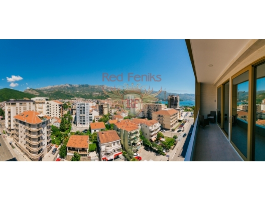 A spacious stylish apartment for sale of 89 m2 is located in a new house in Budva, 100 meters from the sea.