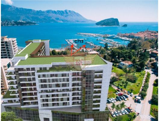 Plaja 100 m mesafede yeni bir komplekste manzaralı bir daire fiyatı için iki stüdyo Budva, becici satılık daire, Karadağ da ev fiyatları, Karadağ da ev almak