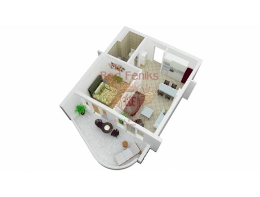 One bedroom apartment in Becici, Karadağ satılık evler, Karadağ da satılık daire, Karadağ da satılık daireler