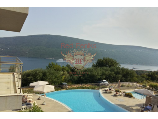 One bedroom apartment in a complex with a swimming pool on the shore of the Boka Bay, hotel in Montenegro for sale, hotel concept apartment for sale in Baosici