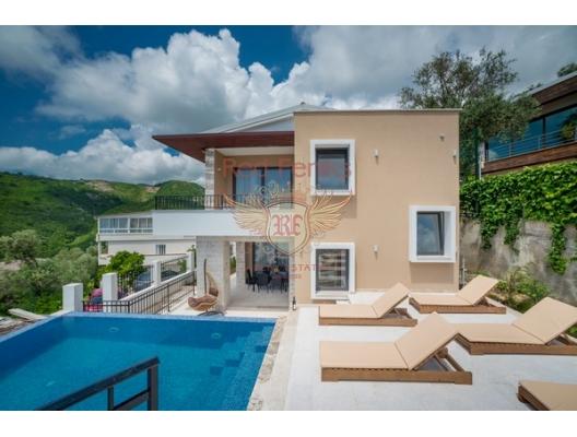 Becici, ivanovici, güzel bir deniz manzaralı satılık yeni iki katlı villa.