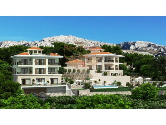 Satılık Rezevici'de, sahildeki en prestijli köyde her biri 600m2 alana sahip iki lüks villa inşa edilecek.