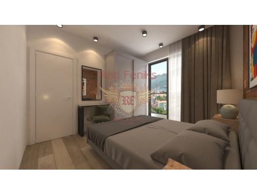 Becici'de yeni bir panoramik komplekste tek yatak odalı daireler, Karadağ'da garantili kira geliri olan yatırım, Becici da Satılık Konut, Becici da satılık yatırımlık ev