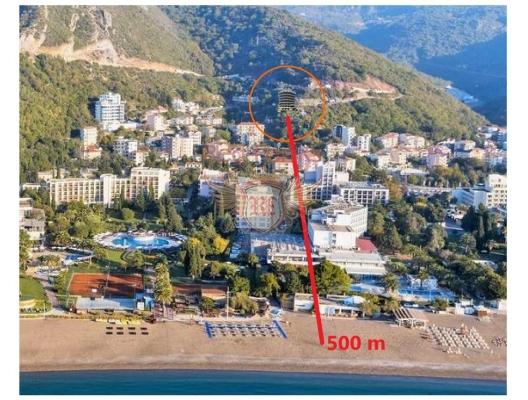 Becici'de yeni bir panoramik komplekste tek yatak odalı daireler, karadağ da kira getirisi yüksek satılık evler, avrupa'da satılık otel odası, otel odası Avrupa'da