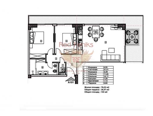 Budva'da panoramik deniz manzaralı modern bir komplekste birinci hatta 2 yatak odalı daire, becici satılık daire, Karadağ da ev fiyatları, Karadağ da ev almak