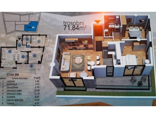 Tivat'ta İki Yatak Odalı Daire 2+1, Region Tivat da satılık evler, Region Tivat satılık daire, Region Tivat satılık daireler