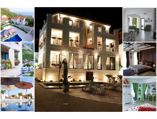 Budva Riviera dağlarının ve denizinin panoramik manzarasına sahip Villa, Sveti Stefan bölgesindedir.