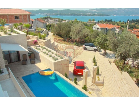 New luxury two-storey Villa built in 2018, located in a quiet area of Tivat, surrounded by Mediterranean vegetation, at a distance of 700 m from the coastline, Montenegro.