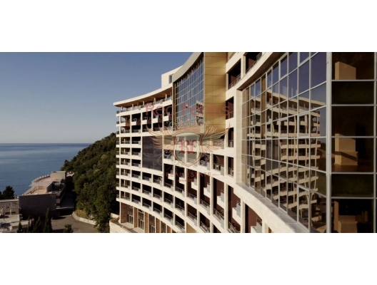 For sale new two levels 3 bedroom apartment with 2 bedrooms with panoramic sea view , big terrace and high seiling! Luxury hotel complex in the front line of Budva Riviera! The total area of 152m2.