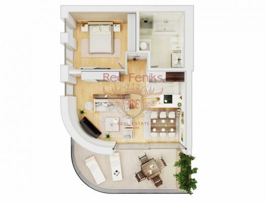 Budva'daki ilk hatta özel kapılı bir komplekste Onebedroom Apartmanı, Region Budva da ev fiyatları, Region Budva satılık ev fiyatları, Region Budva ev almak
